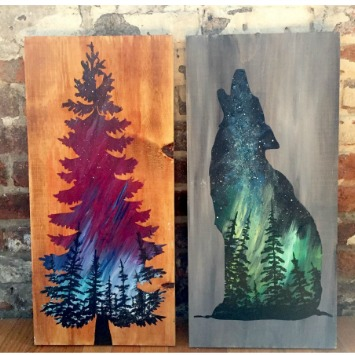 Tree Or Wolf Painting On Wood Palette And Pub
