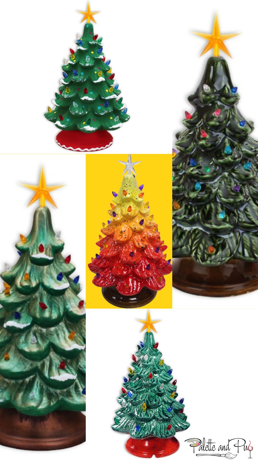 Ceramic Christmas Tree Vintage.Vintage Lighted Ceramic Christmas Trees Palette And Pub
